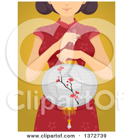 Clipart of a Woman Holding a Chinese Lantern over Yellow - Royalty Free Vector Illustration by BNP Design Studio