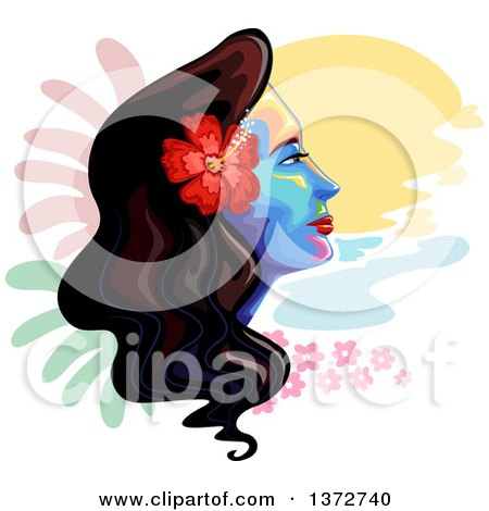 Clipart of a Colorful Woman's Face with a Hawaiian Hibiscus Flowers and Painted Spots - Royalty Free Vector Illustration by BNP Design Studio