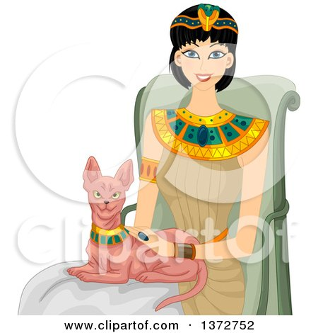 Clipart of a Happy Egyptian Woman Petting a Sphinx Cat - Royalty Free Vector Illustration by BNP Design Studio