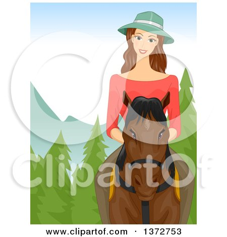 Clipart of a Brunette White Woman Riding a Horse in the Woods - Royalty Free Vector Illustration by BNP Design Studio