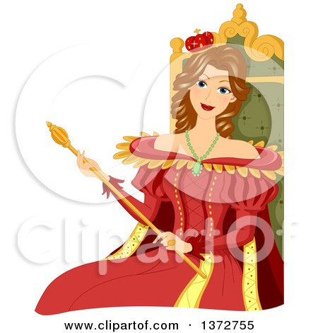 Clipart of a Snooty White Queen Holding a Scepter - Royalty Free ...