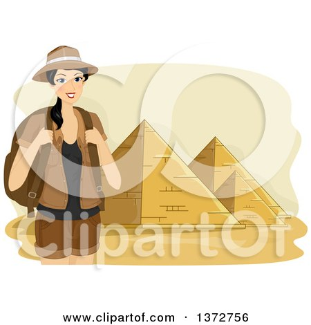 Clipart of a Female Tourist Smiling and Posing near the Pyramids of Egypt - Royalty Free Vector Illustration by BNP Design Studio