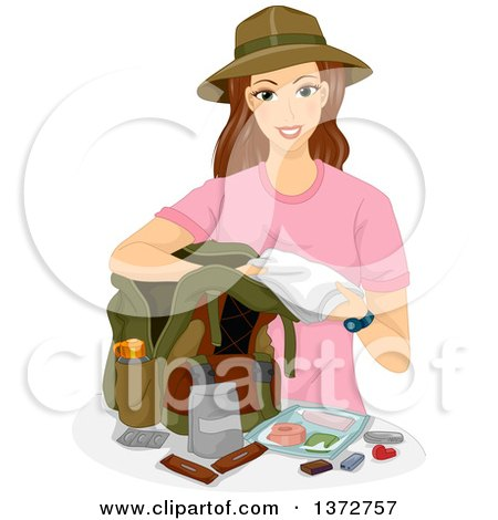 Clipart of a Brunette White Woman Packing a Hiking Bag - Royalty Free Vector Illustration by BNP Design Studio