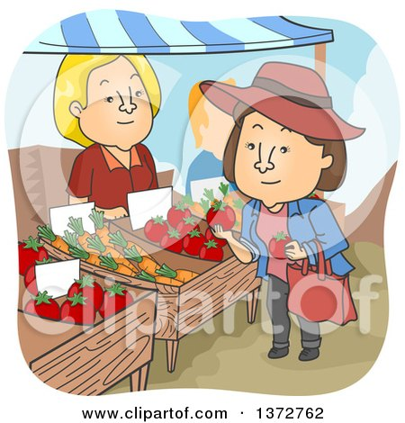 Clipart of a Vendor Watching a Brunette White Woman Shop for Tomatoes at a Farmers Market - Royalty Free Vector Illustration by BNP Design Studio