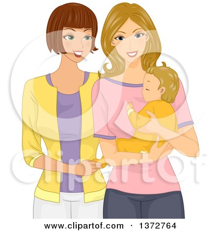 Clipart of a Caucasian Woman Visiting Her Friend and Baby - Royalty Free Vector Illustration by BNP Design Studio