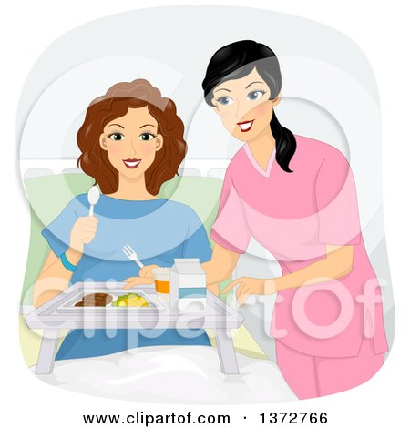 Clipart of a Brunette White Woman in a Hospital, Being Served a Meal - Royalty Free Vector Illustration by BNP Design Studio