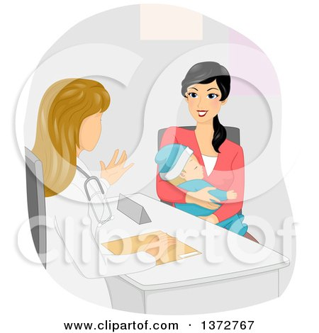 Clipart of a White Female Doctor Speaking with a Young Mother - Royalty Free Vector Illustration by BNP Design Studio