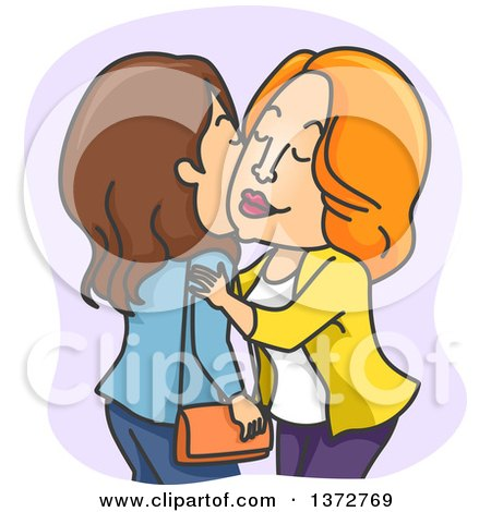 Clipart of White Women Kissing Cheeks - Royalty Free Vector Illustration by BNP Design Studio