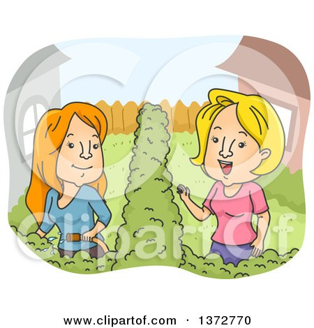 Clipart of White Female Neighbors Talking - Royalty Free Vector Illustration by BNP Design Studio