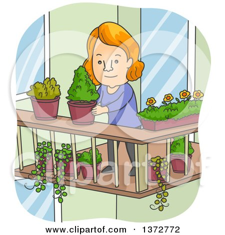 Clipart of a cartoon red haired white woman organizing for Balcony clipart