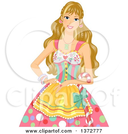 Clipart of a Blond White Woman in a Candy Costume - Royalty Free Vector Illustration by BNP Design Studio