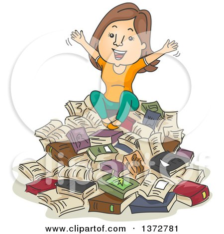 Clipart of a Cartoon Brunette White Woman Sitting on a Pile of Books and Cheering - Royalty Free Vector Illustration by BNP Design Studio