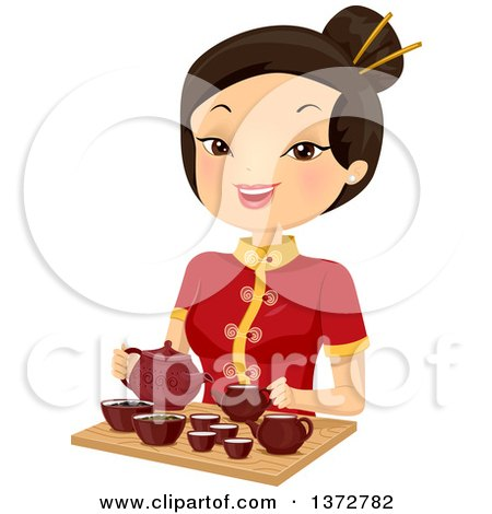 Clipart of a Happy Asian Woman Preparing Hot Tea - Royalty Free Vector Illustration by BNP Design Studio