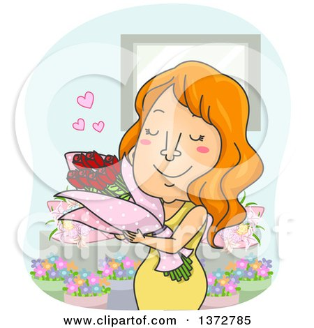 Clipart of a Red Haired White Woman Hugging a Bouquet of Flowers - Royalty Free Vector Illustration by BNP Design Studio