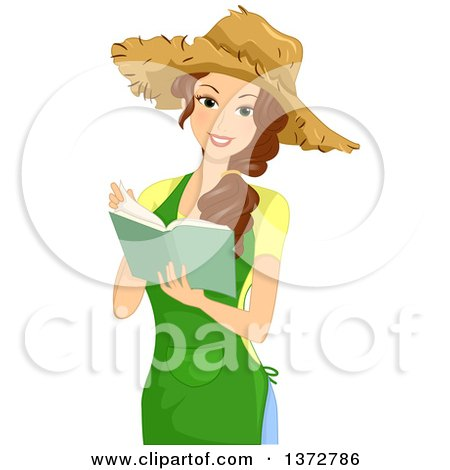 Clipart of a Happy Brunette White Woman Wearing a Straw Hat and Reading a Gardening Book - Royalty Free Vector Illustration by BNP Design Studio