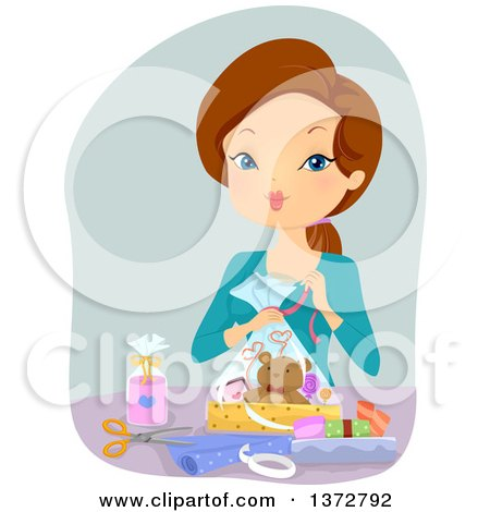 Clipart of a Brunette White Woman Making a Gift Basket - Royalty Free Vector Illustration by BNP Design Studio