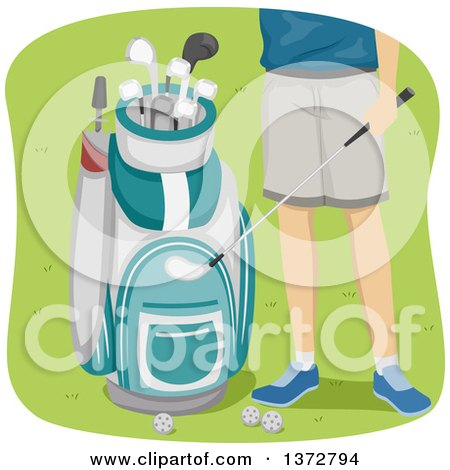 Clipart of a Man, Shown from the Hips Down, Standing by a Golf Bag - Royalty Free Vector Illustration by BNP Design Studio