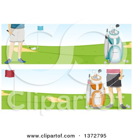 Clipart of Website Banners of a Man on a Golf Course - Royalty Free Vector Illustration by BNP Design Studio