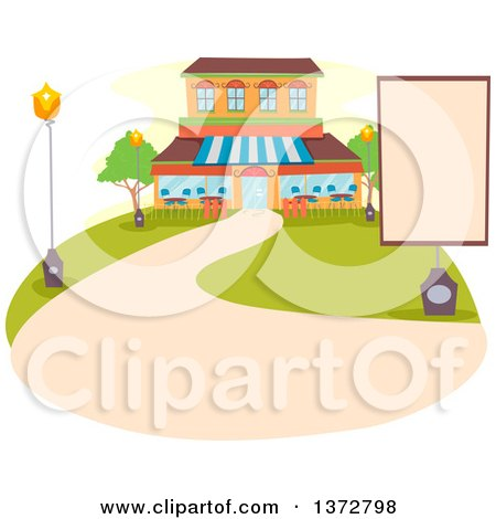 Clipart of a Restaurant Exterior with a Blank Sign and Path - Royalty Free Vector Illustration by BNP Design Studio