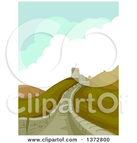 Clipart of a Scene at the Great Wall of China - Royalty Free Vector Illustration by BNP Design Studio