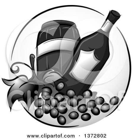 Clipart of a Grayscale Barrel, Bottle and Wine Grapes - Royalty Free Vector Illustration by BNP Design Studio