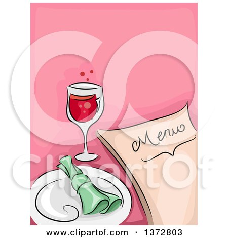 Clipart of a Menu, Glass of Wine and Place Setting over Pink - Royalty Free Vector Illustration by BNP Design Studio