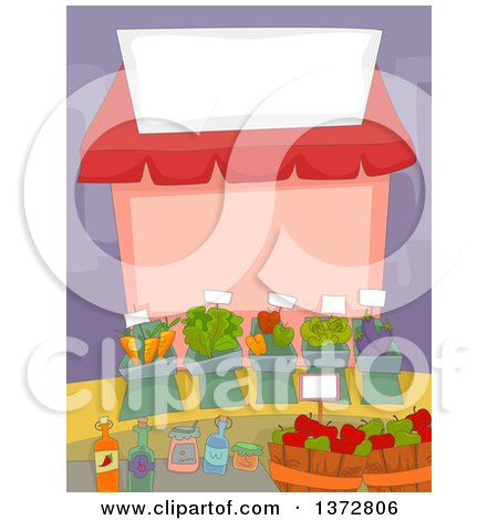 Clipart of a Farmers Market Stand with a Blank Sign - Royalty Free Vector Illustration by BNP Design Studio