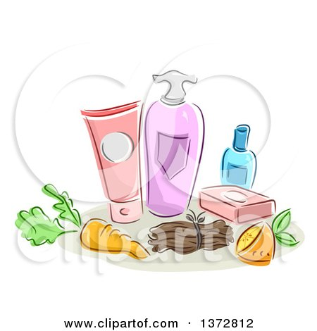 Clipart of Sketched Organic Beauty Products - Royalty Free Vector Illustration by BNP Design Studio