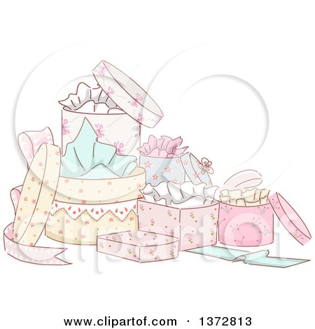 Clipart of a Group of Sketched Fancy Gift Boxes - Royalty Free Vector Illustration by BNP Design Studio