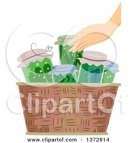 Clipart of a Caucasian Hand Putting Canned Vegetables in a Basket - Royalty Free Vector Illustration by BNP Design Studio