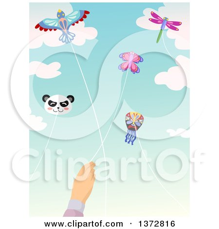 Caucasian Hand Flying a Butterfly Kite, with Others in the Sky Posters, Art Prints