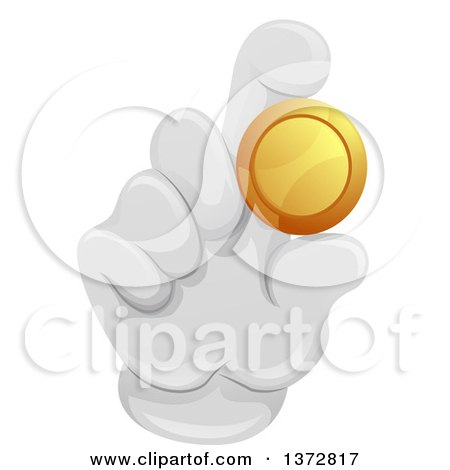 Clipart of a Gloved Hand Holding a Gold Coin - Royalty Free Vector Illustration by BNP Design Studio