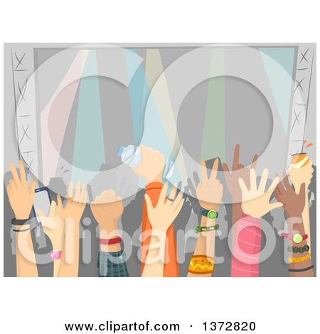 Clipart of a Crowded Audience at a Concert - Royalty Free Vector Illustration by BNP Design Studio