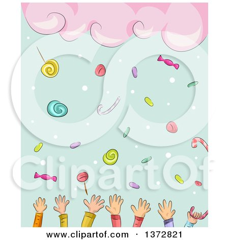 Clipart of a Background of Clouds Raining Candy and Hands of Children - Royalty Free Vector Illustration by BNP Design Studio