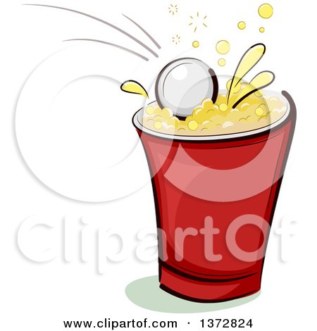 Clipart of a Ping Pong Ball Splashing into a Beer Cup - Royalty Free Vector Illustration by BNP Design Studio