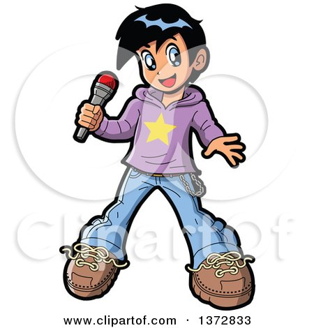 Clipart Of A Manga Boy Pop Star Singer Holding a Microphone - Royalty Free Vector Illustration by Clip Art Mascots