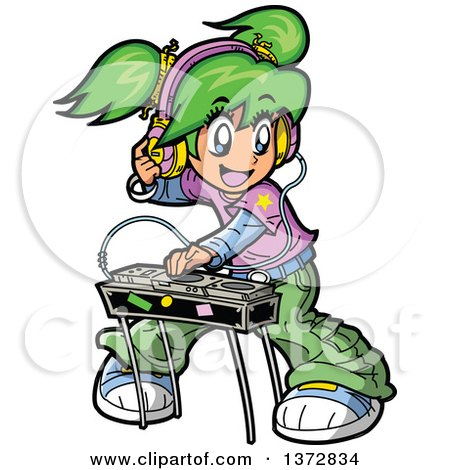 Clipart Of A Green Haired White Manga Girl DJ Mixing Records Royalty Free Vector Illustration