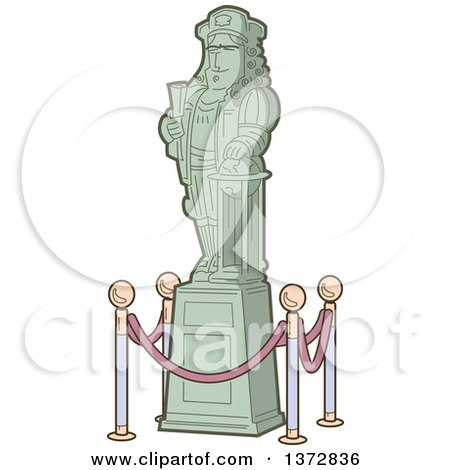 Clipart Of A Historical Statue of Christopher Columbus - Royalty Free Vector Illustration by Clip Art Mascots