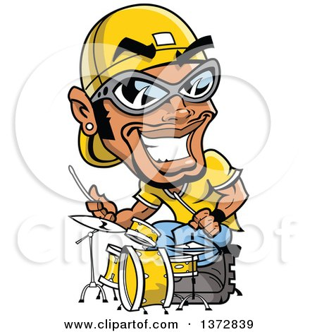 Clipart Of A Black Male Hip Hop Musician Drummer - Royalty Free Vector Illustration by Clip Art Mascots
