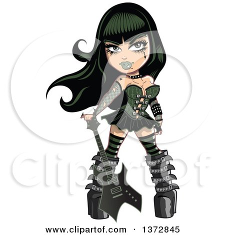 Clipart Of A Sexy Goth Woman With a Guitar - Royalty Free Vector Illustration by Clip Art Mascots