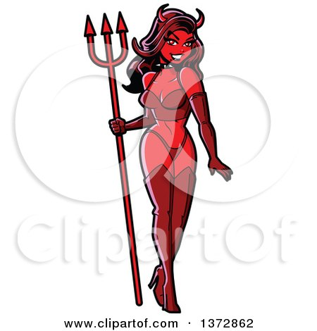 Clipart Of A Sexy Pinup Woman Devil - Royalty Free Vector Illustration by Clip Art Mascots