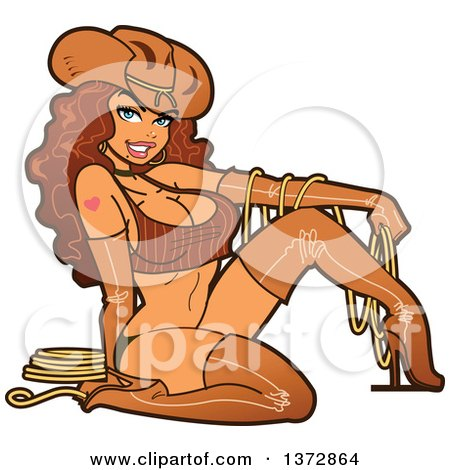 Clipart Of A Sexy Brunette Cowgirl Pinup Woman in Leather - Royalty Free Vector Illustration by Clip Art Mascots