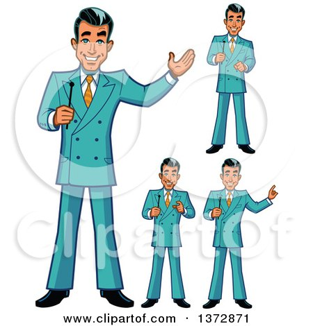 Clipart Of A Happy White Male Game Show Host In Different Poses - Royalty Free Vector Illustration by Clip Art Mascots