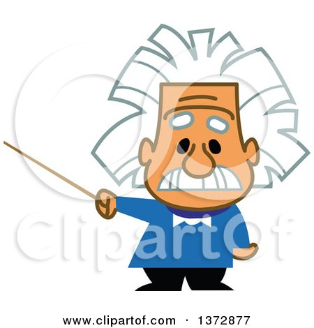 clipart of albert einstein holding a pointer stick royalty free rh clipartof com Funny Pictures Albert Einstein Albert Einstein Cartoon