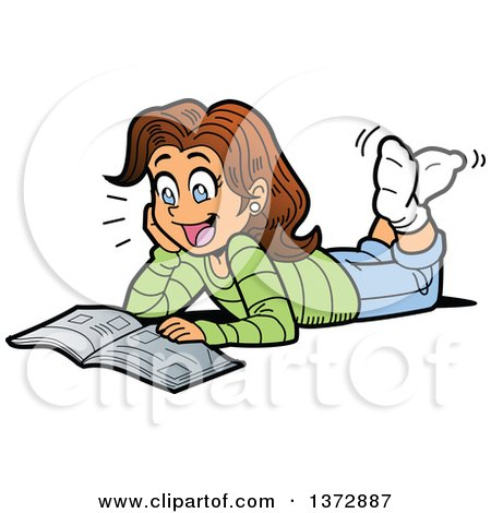 Clipart Of A Excited Brunette White Girl Reading a Magazine on the Floor - Royalty Free Vector Illustration by Clip Art Mascots