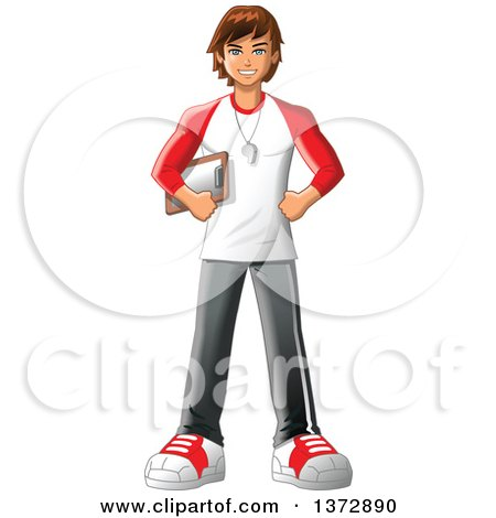 Clipart Of A Happy Brunette White Male Sports Coach or Gym Teacher - Royalty Free Vector Illustration by Clip Art Mascots