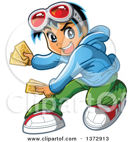 Clipart Of A Manga Boy Playing Cards - Royalty Free Vector Illustration by Clip Art Mascots