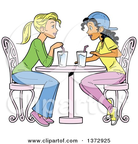 Clipart Of Two Women Having a Drink Together - Royalty Free Vector Illustration by Clip Art Mascots