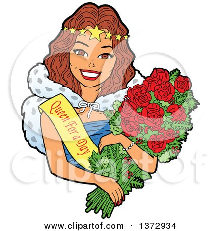 Clipart Of A Brunette White Woman Wearing a Queen for a Day Sash and Holding Roses - Royalty Free Vector Illustration by Clip Art Mascots