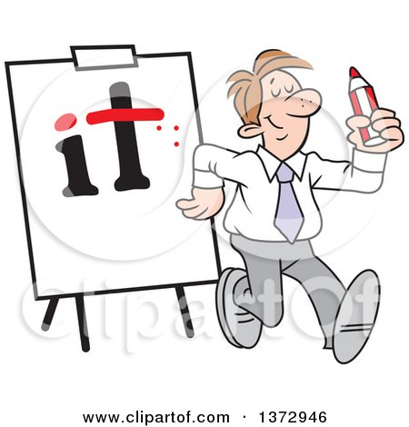 Clipart of a Cartoon Pleased White Business Man Walking Away from a Dotted I and Crossed T on a Board - Royalty Free Vector Illustration by Johnny Sajem